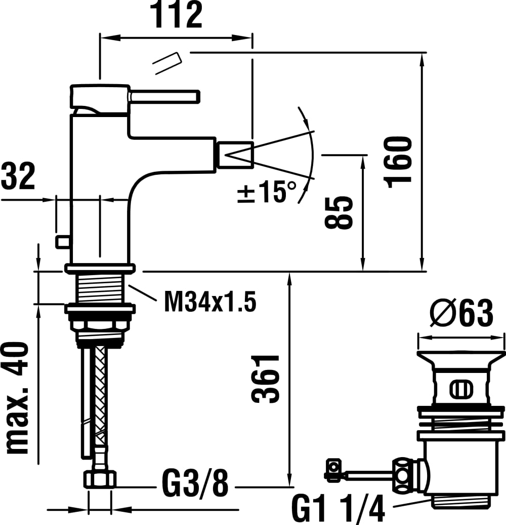 Mezclador para bidé monomando, caño fijo 112 mm, con